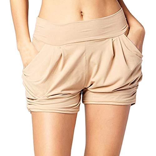 Zarupeng Dames-shorts met hoge taille en plooide vrijetijdsshorts voor de zomer, zachte, ademende stoffen shorts voor het strand, korte broek