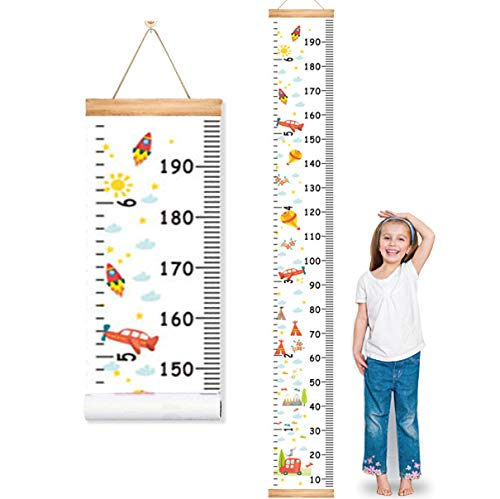 MIBOTE Baby Growth Height Chart, Canvas and Wood Handing Removable Wall Ruler for Kids, Wall Decor (79' x 7.9', Cartoon Patterns)
