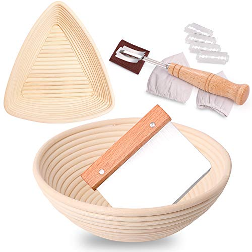 2 Set Proofing Basket, 2 Shapes Sourdough Proofing Basket, 9 Inch Triangle & 10 Inch Round Bread Proofing Basket + Bread Lame + Dough Scraper + Linen Liner, Sourdough Kit for Professional Home Baker
