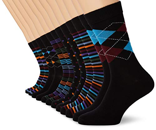 FM London Herren Bamboo Socken, Mehrfarbig (Spots und Stripes 10), 39-42 (12er Pack)