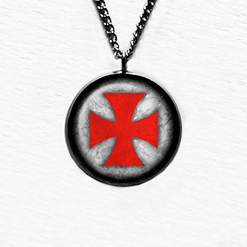 Worn Knights Templar Cross - Red on White Tempelritter Ritter Templer Kreuz Anhänger und Halskette