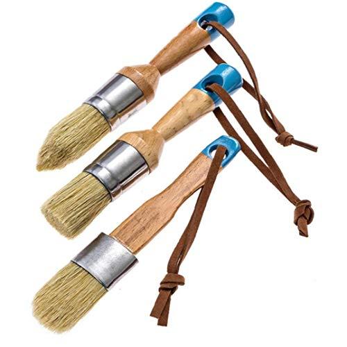 DierCosy Tools Pinsel Runde Chalk Wachs Borste Bürsten Möbel rundes Holz angekreidet Malpinsel Blau 3 Stück