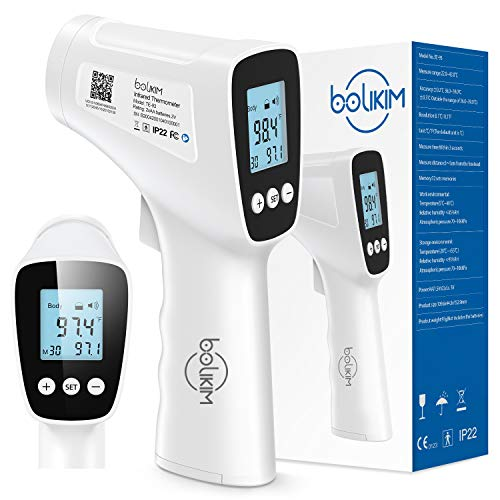 Thermometer for Adults Forehead, Non-Contact Forehead Thermometer Bolikim Medical Thermometer for Adults High Sensitive Sensor with Fever Alarm, 32 Sets Memory, Large HD LCD Display for Adult Baby