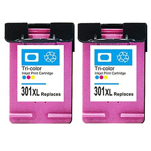 RICR 301 XL Reemplazo de Cartucho de Tinta Compatible para HP 301XL, Adecuado para DeskJet 2050 2540 3050 1510 Envy 4500 5530 5532 OfficeJet 2620 2622 4630 4636 Impresora Color x 2