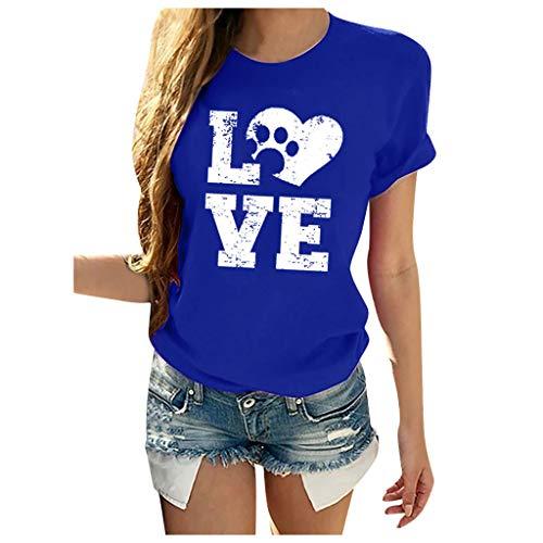 CixNy Frauen Kurzarm O-Ausschnitt Letter Print Casual Tops Bluse T-Shirt (Blau, XXXL)