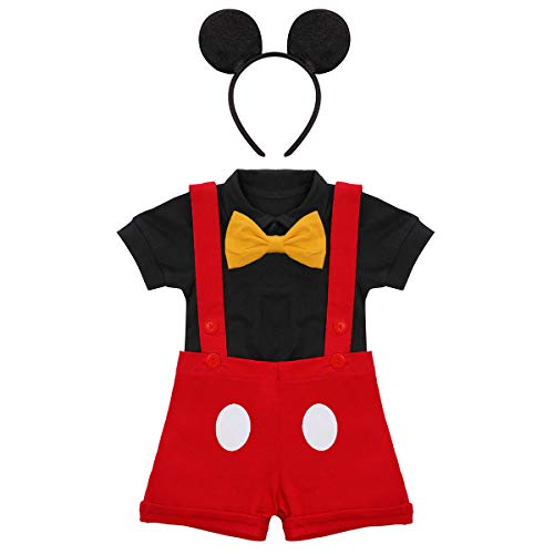 Gentleman First Birthday Cake Smash Photo Prop Outfits for Baby Boys Romper+Bow Tie+Overalls Bib Pants Mouse Ears Headband Halloween Baby Shower Fancy Costume Red+Balck 12-18 Months