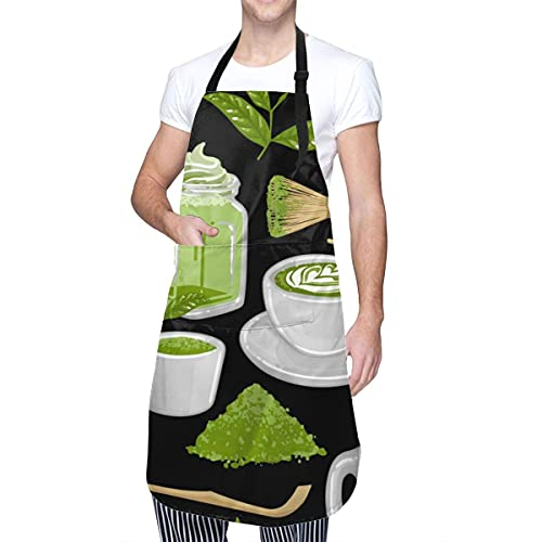 Tazas a Juego Delantal Verde rodeado de té y café para Mujer Delantal Ajustable Impermeable con Bolsillos Adecuado para Restaurante, hogar, Cocina, jardín