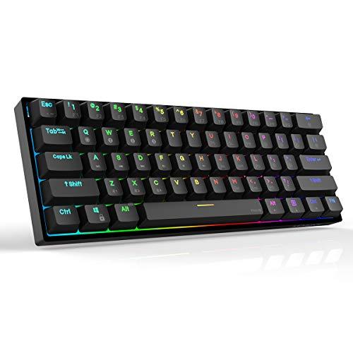 Dierya DK61 Pro Bluetooth 5.1 Mechanical Gaming Keyboard 60% Wireless/Wired PBT Keycap RGB Backlit Mini Compact 61 Keys Computer Keyboard with Full Keys Programmable (Gateron Optical Blue Switch)