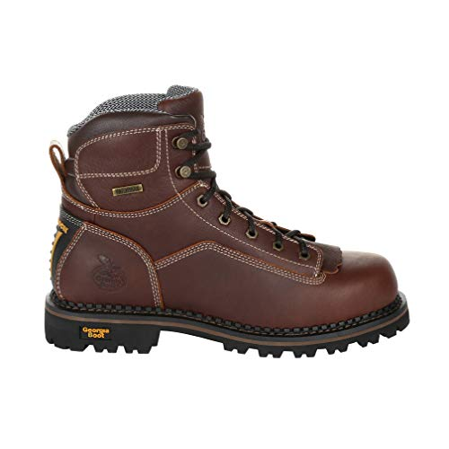 "Georgia Boot Men's 6"" AMP LT Logger Low Heel Waterproof Work Boot-GB00270 (M11.5) Brown"