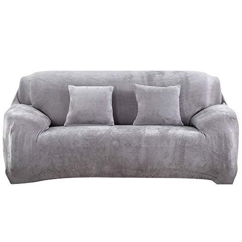 SearchI Fundas de Sofá Elasticas 3 Plazas de Felpa Gruesa,Cubre Sofa Desmontable y Lavable Cubierta Decorativas para Sofás Sillones Fundas Protector para Sofá Universal (Gris Plateado)