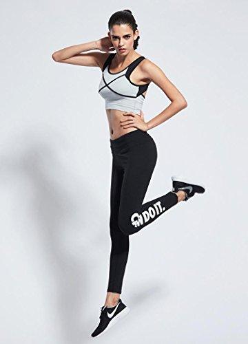 Chuangyi Sports et Salle de Gym Fitness Formation de Tapis Roulant Pantalons Pantalons Taille des Lettres imprimées à séchage Rapide des vêtements de Yoga Pantalons, White Pants -ck826, m