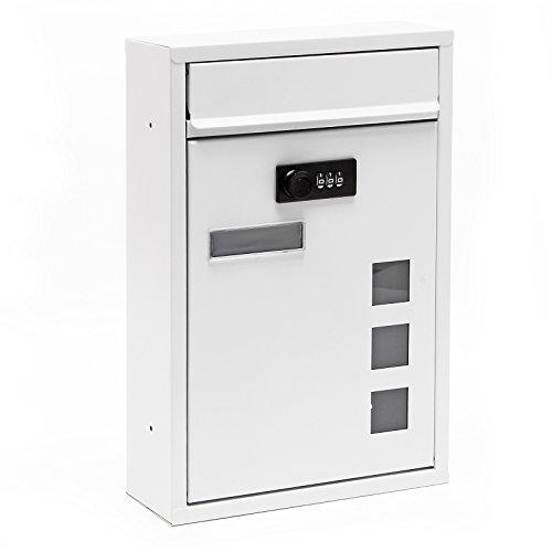 Moderner Briefkasten Weiß Zahlenschloss Wandbriefkasten pulverbeschichtet