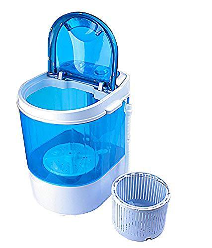 Nano Wash Plastic Round Portable Mini Washing Machine with Dryer Basket (Blue)