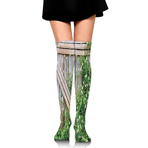 Bamboe hek bedekt door Ivy Madeliefje Bloem Bloeit Kamille Bloemblaadjes Vrouwen Mode Over De Knie Hoge Sokken (60cm)