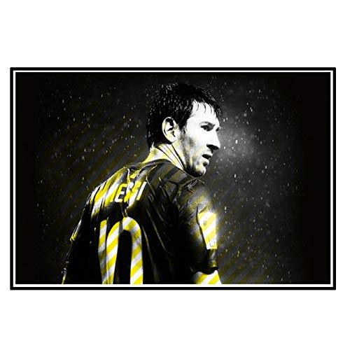 DrCor L-Messi Carteles de Jugador de fútbol Lienzo Impreso Pinturas Abstracto fútbol Deporte Pared Arte para Sala de Estar decoración del hogar -50x75 cm sin Marco