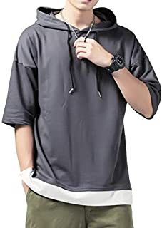 [フォーリーフ] パーカー メンズ パーカー パーカー 五分袖 フェイクレイヤード Tシャツ プルオーバーパーカー 重ね着風