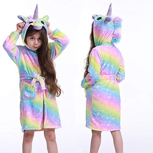 2020 Kinder Bademäntel Winter Kinder BademantelTier Flanell Nachtwäsche Für Big Boys Mädchen Pyjamas Nachthemd-yellow rainbow-7-8