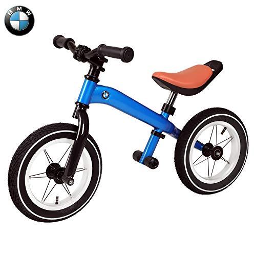 Birtech Laufrad Balance Fahrrad 12 Zoll Kinderrad Lauffahrrad Sport Fahrrad mit Stahlrahmen, Verstellbarer Lenker & Sitz für Kinder (Blau BMW)