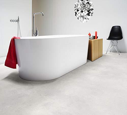 PVC Bodenbelag in hellem Beton (6,95€/m²), kleines Muster
