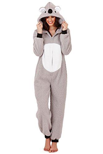 Loungeable Damen Macaroon Overall oder Morgenmantel Damen Nachtwäsche - Grau Koala, EU 36/38