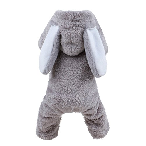 UEETEK Disfraz Perro Pequeño Gato Ropa Perro Invierno Disfraz de Conejo con Orejas Gris Talla XL