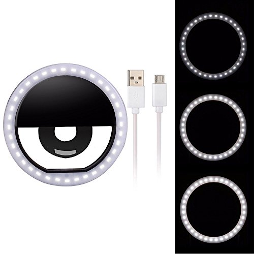 Selfie Ring Light,Hshenda 36 LED Ring Light Clip On Ring Light for Phone Camera [USB Rechargable] Selfie LED Camera Light for iPhone iPad Smart Phones …