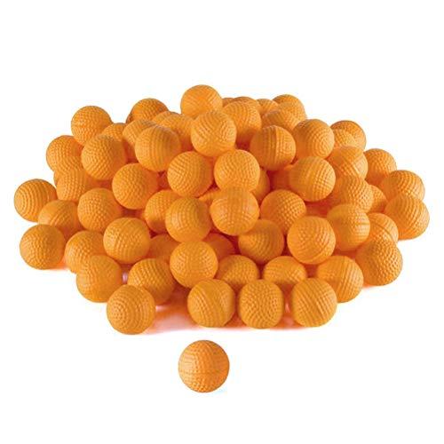 RUSTOO Recambio de Bala de munición Redonda, 50 Piezas de Recambio de munición de Espuma de munición para reemplazar el Paquete de Bolas de Bala para niños, Juguete para niños (Naranja)