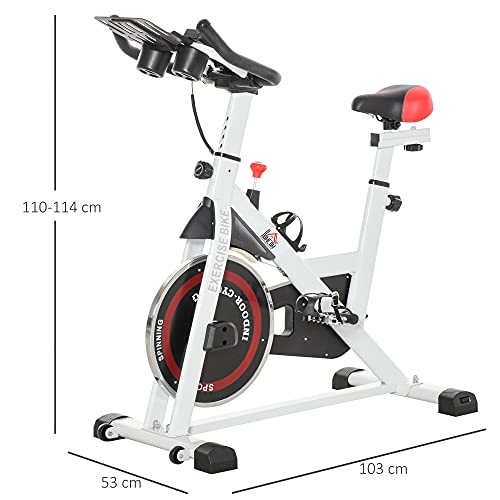 41DXrT49GFS. SL500  - HOMCOM Bicicleta Estática Bicicleta de Fitness Pantalla LCD Asiento Manillar Ajustable Volante de Inercia 8kg Resistencia Regulable 103x53x110-114 cm Acero Blanco