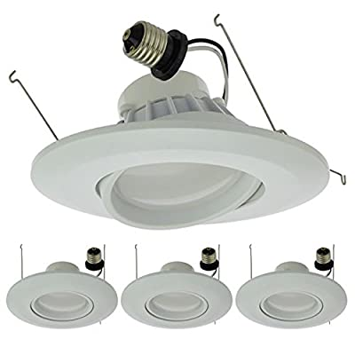 "LEDwholesalers 6"" Recessed Dimmable 15W LED Adjustable Head Downlight with White Trim, ETL & ENERGY STAR, 2216-P"