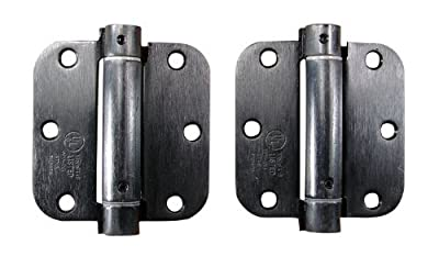 Hinge Outlet Spring Loaded Hinges for Doors - 3.5 Inch with 5/8 Inch Radius, Oil Rubbed Bronze, 2 Pack