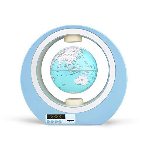 FYJK Schwebende Globen mit LED-Licht, schwebende Globus-Bluetooth-Leuchtkugel mit Weltkarte, schwimmende 3D-Stereouhr-Schwimmkugeln für Bildungsgeschenke,Light Blue,4 inch