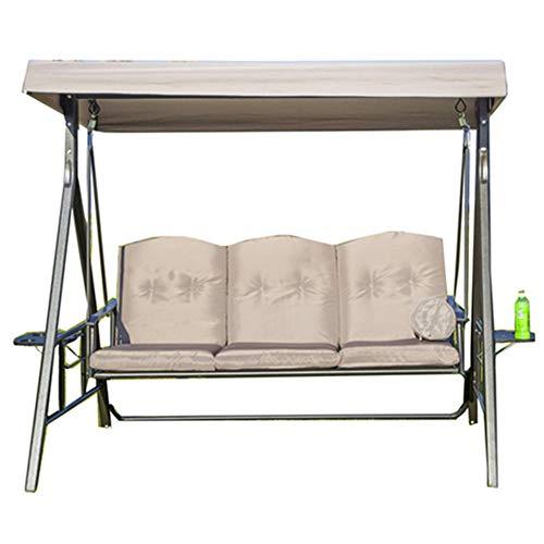 HARUONE silla de jardín de 3 plazas con columpio resistente al aire libre, tumbona ajustable con asientos acolchados para el hogar, jardín, vacaciones, playa, three people