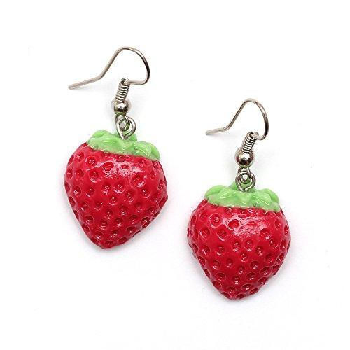 Idin Handgemachte Fimo-Ohrringe - Rote Erdbeeren aus Fimo (Länge ca. 3.5 cm)