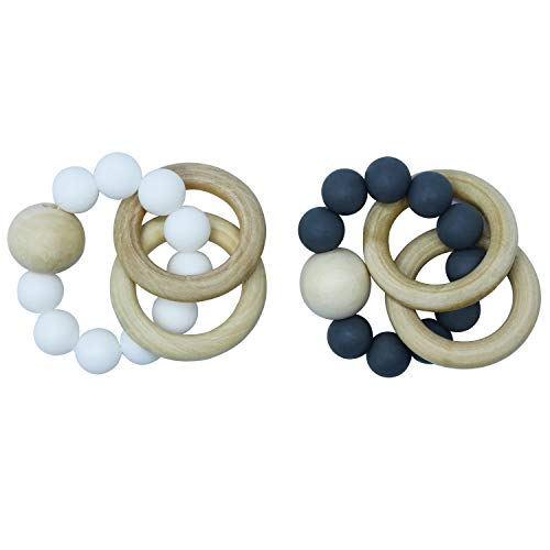 Cheapest Price! GNAWRISHING Wooden Teether, Wooden Teether Ring, 2 Pcs Wooden Rattles Set, Nature Safe Organic Wood Teether, Food Grade Silicone Teether Bracelet, BPA Free Infant Teething Rings