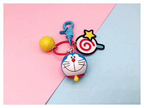 Goqiwep Llavero Anime Historieta Linda Doraemon Mini PVC Figura Modelo Muñeca Llavero Llaveros para Mujer Bolsa Mochila Charms Regalos (Color : ZZ 02)