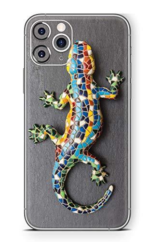 Skins4u Ultra Slim Schutzfolie für iPhone 11 Pro Max Skins Matte Oberfläche Aufkleber Skin Klebefolie Kratzfest Case Cover Folie Mosaik Gecko
