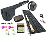 Wild Water Fly Fishing 11 Foot 4 Piece 5 Weight Switch Rod Complete Fly Fishing Rod and Reel Combo Starter Package for Steelhead