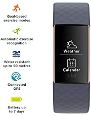 Fitbit Charge 3, Advanced Fitness Tracker, with Heart Rate, Swim Tracking & 7 Day Battery, Rose Gold/Blue Grey