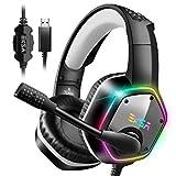 EKSA ゲーミングヘッドセット 7.1ch サラウンド PS4 ヘッドホン USB接続 高集音マイク PC用ヘッドセット