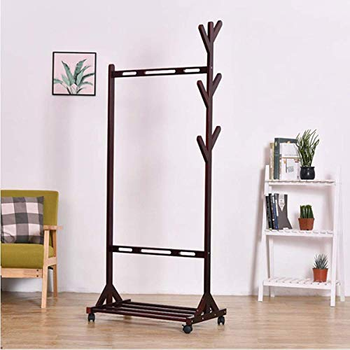 AOIWE Coat Stand Rack Mobile Wooden Coat Rack with 6 Hooks 1 Layer Shoe Rack Floor Clothes Rail for Clothes Hats and Shoes (Color : Brown)
