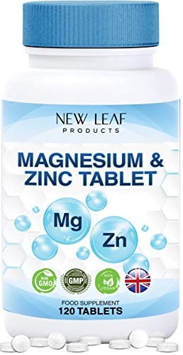 Magnesium Supplements with Zinc – High Absorbency, Supports Many Health Factors Easy to Swallow Sleep Supplement -Vegan, GMO-Free, Gluten-Free, GMP – Manufactured in The UK , 120 Ultra Small Tablets