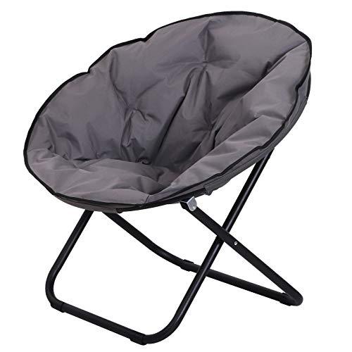 Outsunny Klappstuhl Klappsessel Campingstuhl Gartenstuhl Polstersessel Lounge Sessel faltbar Metall + Oxfordstoff Grau 80 x 80 x 75 cm