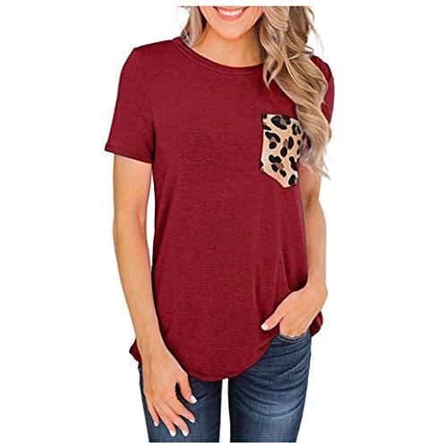 TWBB Damen Elegante Langarmshirts V-Ausschnitt Langarm Bluse Casual Lose Stretch Tunika Oberteil Top Einfarbig T-Shirt mit Leoparden Tasche Vorher