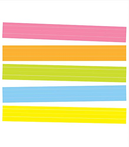 """Carson Dellosa Sentence Strips—Double-sided, Lined, Pink, Orange, Yellow, Green, Blue, White Colored Neon Paper, Classroom or Homeschool Writing Practice (24"""" x 3"""")"""