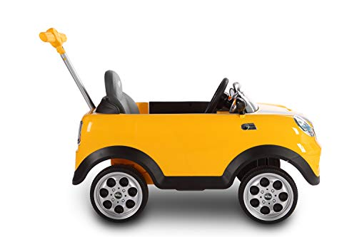 ROLLPLAY Push Car with Adjustable Footrest, For Children 1 Year and Older, Up to 20 kg, MINI Cooper, Yellow