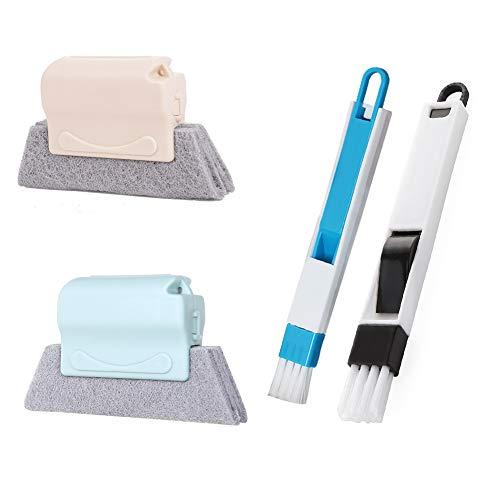 Houdao - Cepillos de limpieza mágicos de 4 piezas, cepillo de ranura para ventanas, cepillo de limpieza para ventanas de baño, para limpiar ventanas, teclados y todas las esquinas y huecos