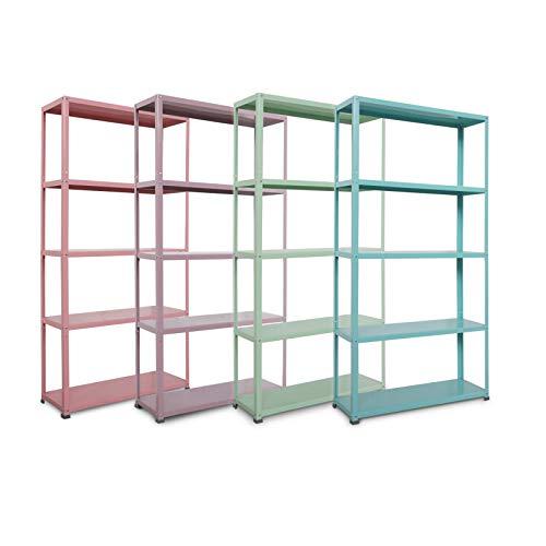 casa pura Scaffali in Metallo Colorati - Ripiani Decorativi per Case e Negozi | Capacità di Carico 350 kg | Rosa Chiaro - 172x90x30 cm