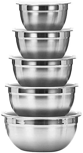 YUNLAN Mixing Bowls, Stainless Steel Nesting Mixing Bowls Set with Silicone Lids Mirror Polished Finish Metal Mixing Bowl for Kitchen Baking Cooking Prepping & Serving Set of 5 Includes 5, 3, 2, 1.5,