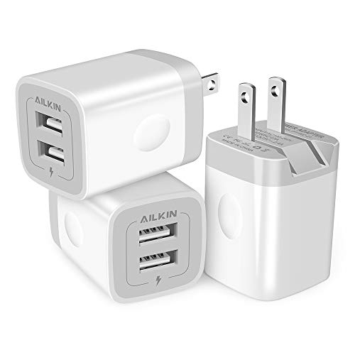 3Pack Fast Charging Cubes, Foldable Dual Port Charger Block, AILKIN Fast USB Plug Power Adapter Fold up Box Base Brick for iPhone XR/XS Max/X iPad Samsung Galaxy Tablet Kindle Fire LG Pixel Xbox Blu