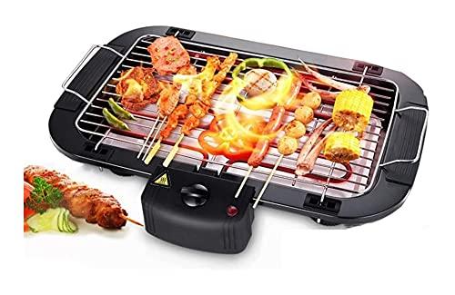 Rauchloser elektrischer Grill, mit eingebautem Tropfablage, elektrischer Grill 2000W rauchloser Tisch-Top-Grill für Garten-Familienparty, 5 Einstellung der einstellbaren Temperatur